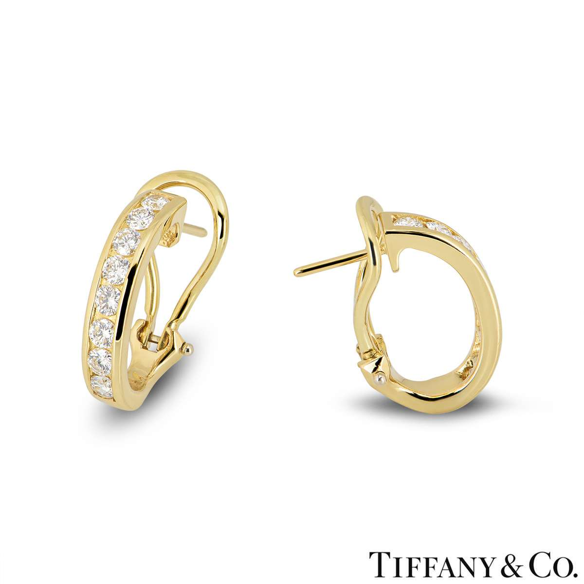 325be6528 ... Tiffany & Co 18k Yellow Gold Diamond Set Hoop Earrings 0.96ct ...
